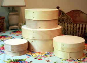 Round Bentwood Stacking Boxes