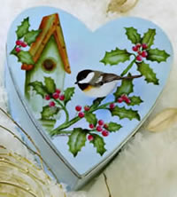 Painted Heart Box with Bird