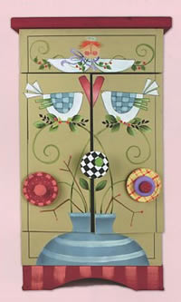Birds and Flowers Sewing Cabinet