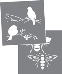 "Bees and Birds, Americana Decor Stencil 8"" x 8"""