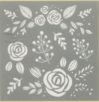 Whimsical Floral, 8 x 8 inch Americana Decor Stencil