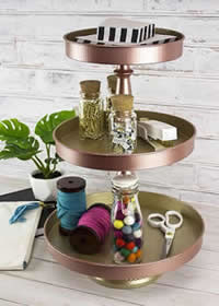 DecoArt Matte Metallic Painted 3-Tier Tray and Organizer