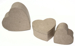 Paper Mache 3 Set Heart Boxes