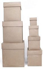 Paper Mache Tall Large Square Box Set of 7