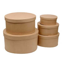 Paper Mache Oval Hat Boxes, Set of 5