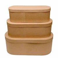 Paper Mache Narrow Boxes, Set of 3