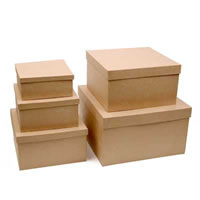 Paper Mache Square Boxes, Set of 5