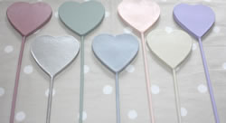Muted Pastel Painted Paper Mache Heart Plant Sticks