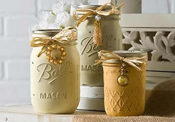 ball jars painted with folkart home decor chalk paint - Home Decor Chalk Paint