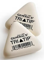 General's Tri-Tip Soft White Erasers