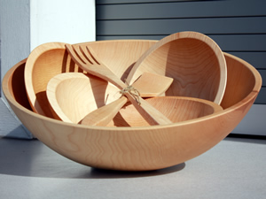 Traditional Hardwood Salad Bowls and Salad Bowl Sets
