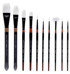 KingArt Truth White Nylon Brush Set, 10 Piece