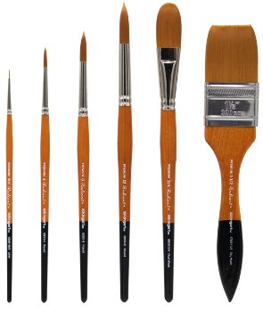 6 Piece KingArt Radiant 6000 Series All-Purpose Brush Set