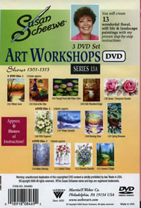 Susan Scheewe Art Workshops 3 DVD Set, 13 Episodes Back Cover
