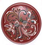 Rosemaled Wood Plate
