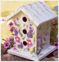 Plaid FolkArt One Stroke Birdhouse painted with One Stroke Brushes