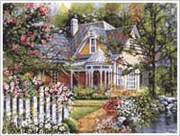 Victorian Cottage Plaid Paint by Number Set