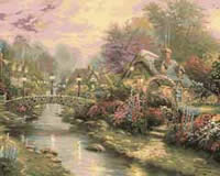 Lamplight Bridge, Thomas Kinkade Paint by Number