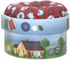 Decorated and painted pin cushion box