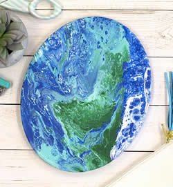 Planet Earth created with Pour Painting