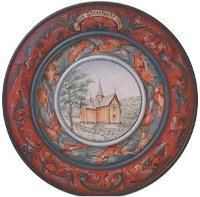 Triple Beaded Plate with Numedal Rosemaling