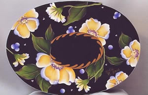Yellow Roses Oval Bentwood Box Packet by Julie Polderdyke