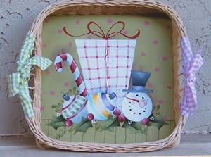 Gathering Christmas Wicker Tray