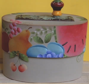 Box of Fruit design on Bentwood Box by Shara Reiner