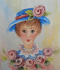 Rosie on Watercolor Card by Pat Saunders