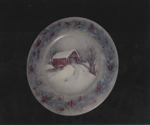 Covered Bridge Painting Pattern on wood rim plate