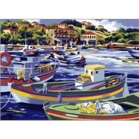 Meditteranean Fishing Boats Royal Langnickel Painting by Numbers
