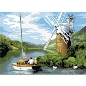 Windmill on the River Painting by Number Royal Langnickel