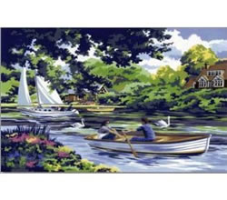 Boating on the River Senior Large Painting by Numbers