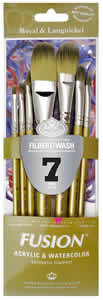 Fusion 7 Piece Filbert/Oval Wash Brush Set