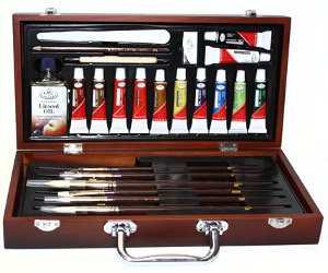 Royal and Langnickel Wooden Box Oil Set with Supreme Brushes
