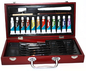 Royal and Langnickel Watercolor Wooden Box Set with Majestic Brushes