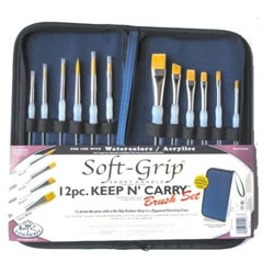 12 Piece Keep n Carry Soft Grip Brush Set by Royal and Langnickel