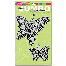 Butterfly Pair Jumbo Cling Rubber Stamp