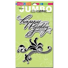 Happy Birthday Jumbo Cling Rubber Stamp