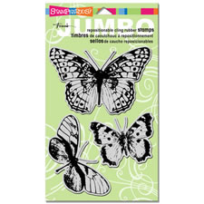 Butterfly Trio Jumbo Cling Rubber Stamp