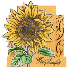 Sunflower Jumbo Cling Rubber Stamp Card