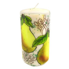 Pear Stamp on a Candle