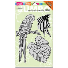 Parrot Jumbo Cling Rubber Stamp