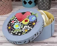 Painted Small Round Bentwood Stacking Box - Shara Reiner