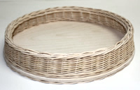 "10"" Round Wicker & Birch Tray"