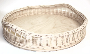 "16"" Round Wicker/Birch Tray with Woven Handles"