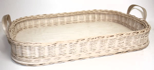 Wicker/Birch Bed and Breakfast Tray with Hardwood Handles