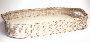 Wicker/Birch Bed and Breakfast Tray with Woven Handles