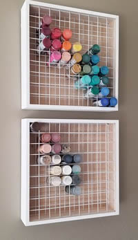 Wood Craft Paint Storage Racks Hanging on Wall