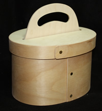 Bentwood Oval Caddy with Handle and Lid